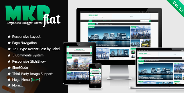 MKRflat Responsive Magazine/News Blogger Theme