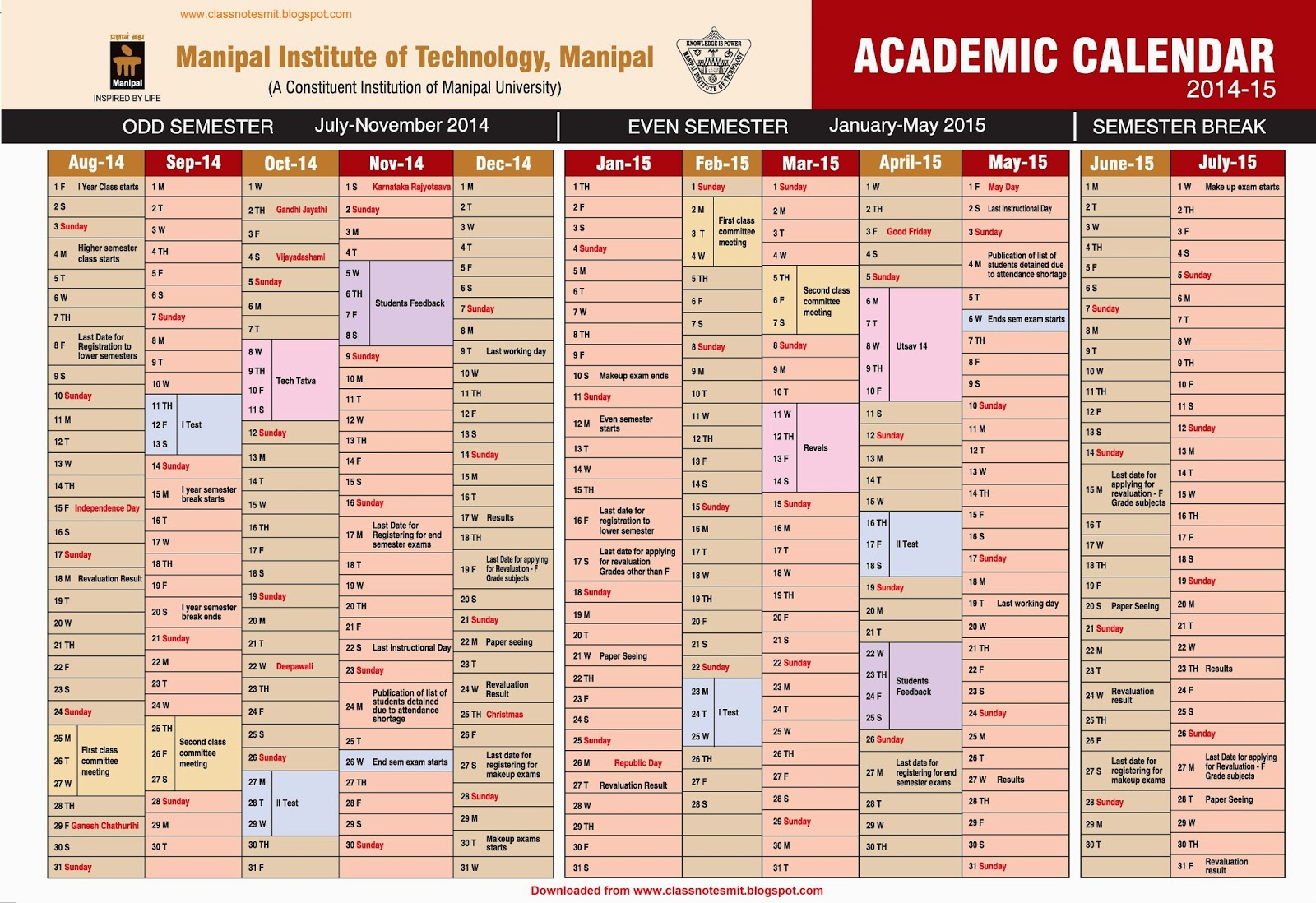 Class Notes Manipal Institute Of Technology Academic Calendar