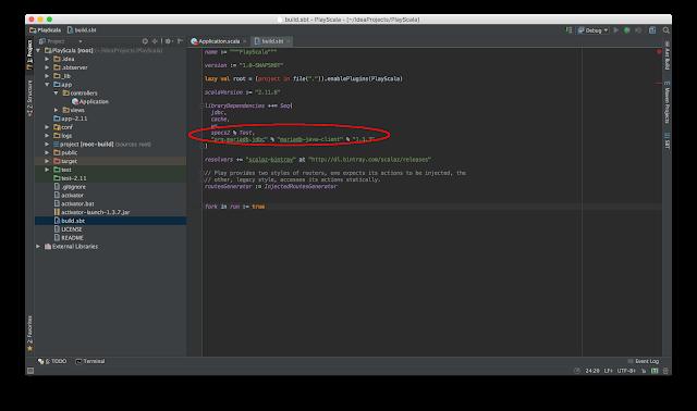 Scala + Play から MariaDB への接続