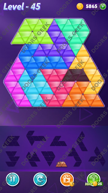 Block! Triangle Puzzle 10 Mania Level 45 Solution, Cheats, Walkthrough for Android, iPhone, iPad and iPod