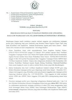 Surat Edaran Sekjen Percepatan Pencairan TPG Madrasah Tahun 2016