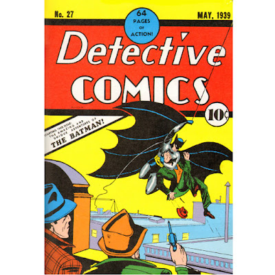 Cover of Detective Comics #27 showing Batman swooping over a roof while being shot at by two criminals