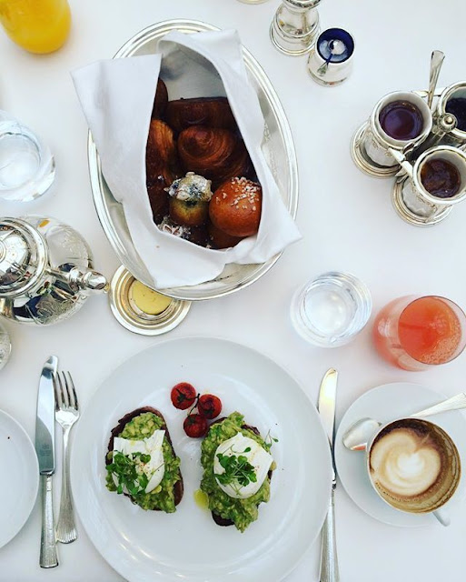 breakfast: eggs, avocado and freshly baked pastries, of course!