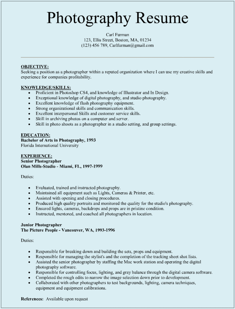 Sample Resume With Picture Template Photographer Resume Sample | Sample Resumes