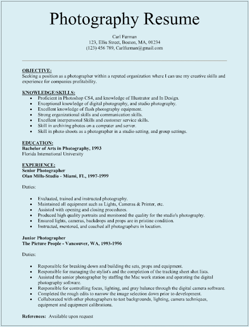Photographer Resume Sample | Sample Resumes