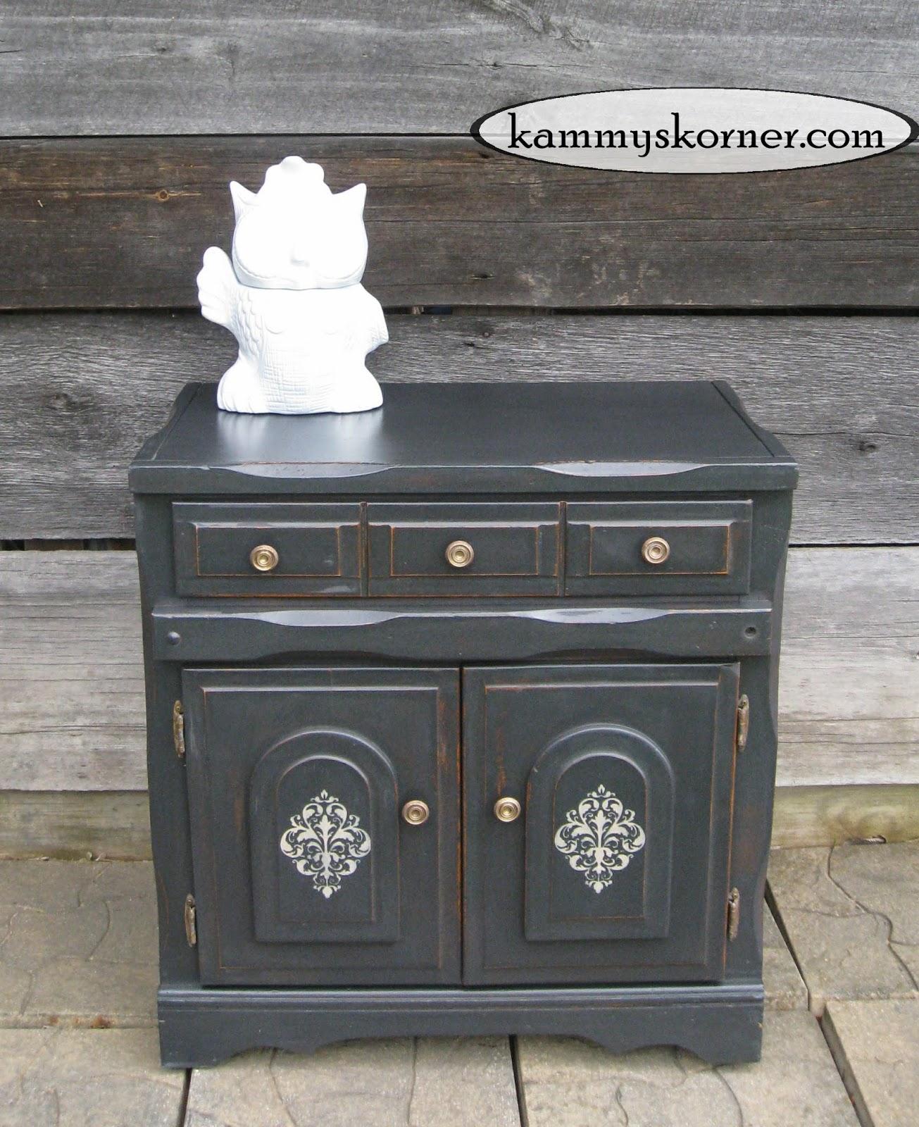 Kammy S Korner Charcoal Black Cabinet Distressed Chalk