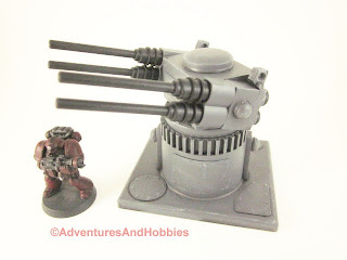 25 to 30mm scale war game scenery weapons gun turret with quad barrel cannons - view 1.