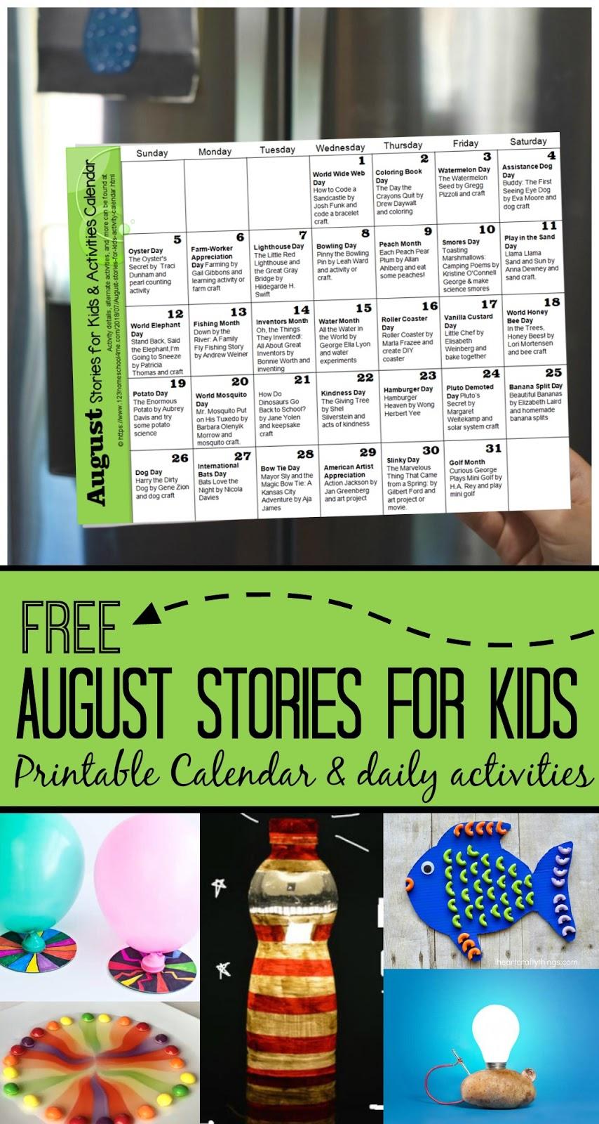 August Stories For Kids Activity Calendar