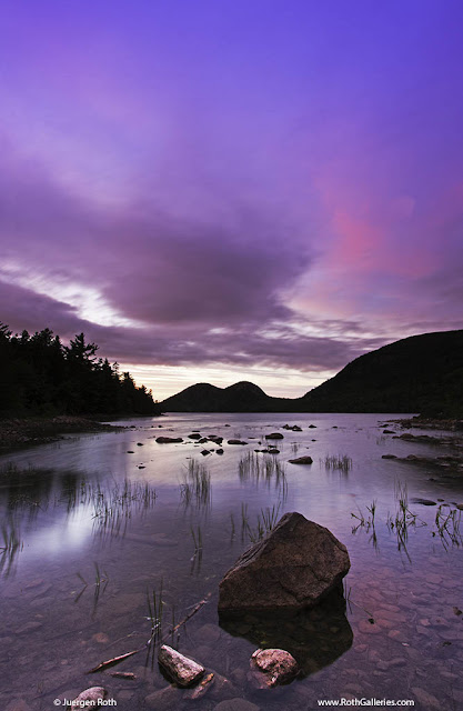 Jordan Pond and the Bubbles at sunset in Acadia National Park Maine