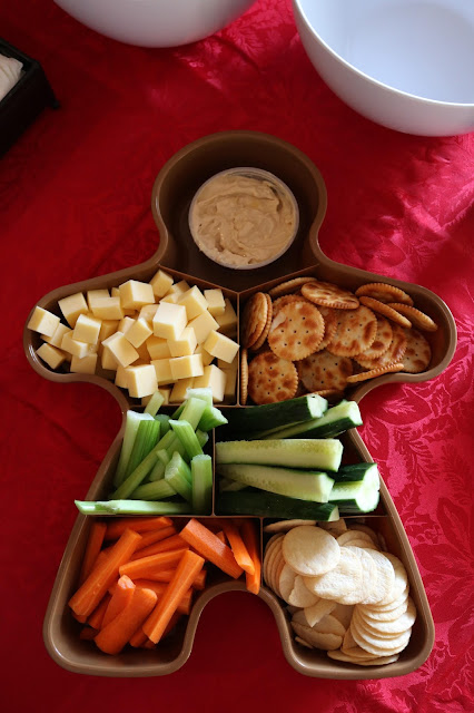 Healthy Christmas Snack Ideas - Gingerbread Man Savory Snack Tray with Cheese, Crackers, Vegetable Crudites and Dips