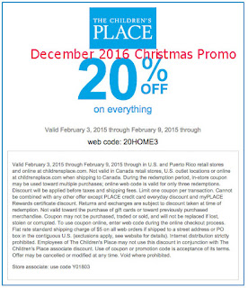 Childrens Place coupons december 2016