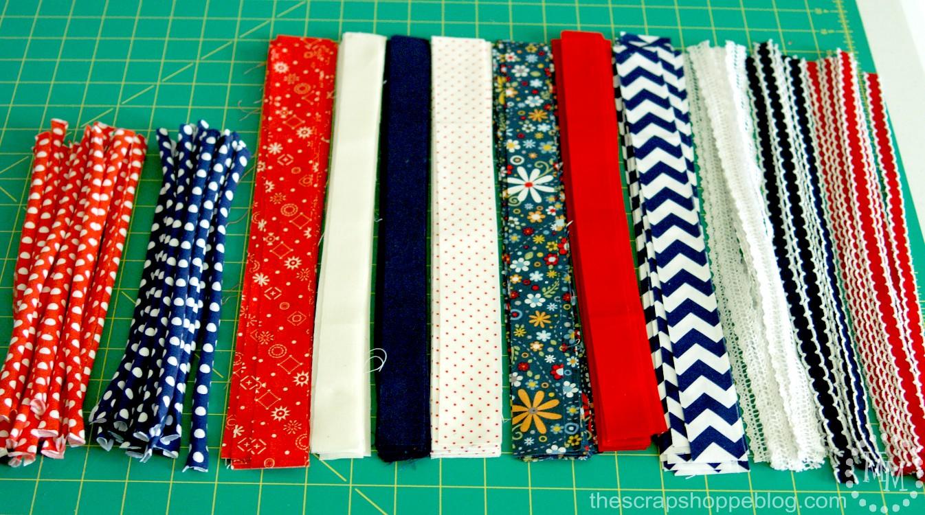 cut strips of fabric for Rag Ribbon Garland