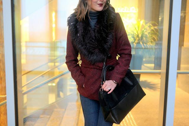Tweed and fur coat and Coach Borough bag