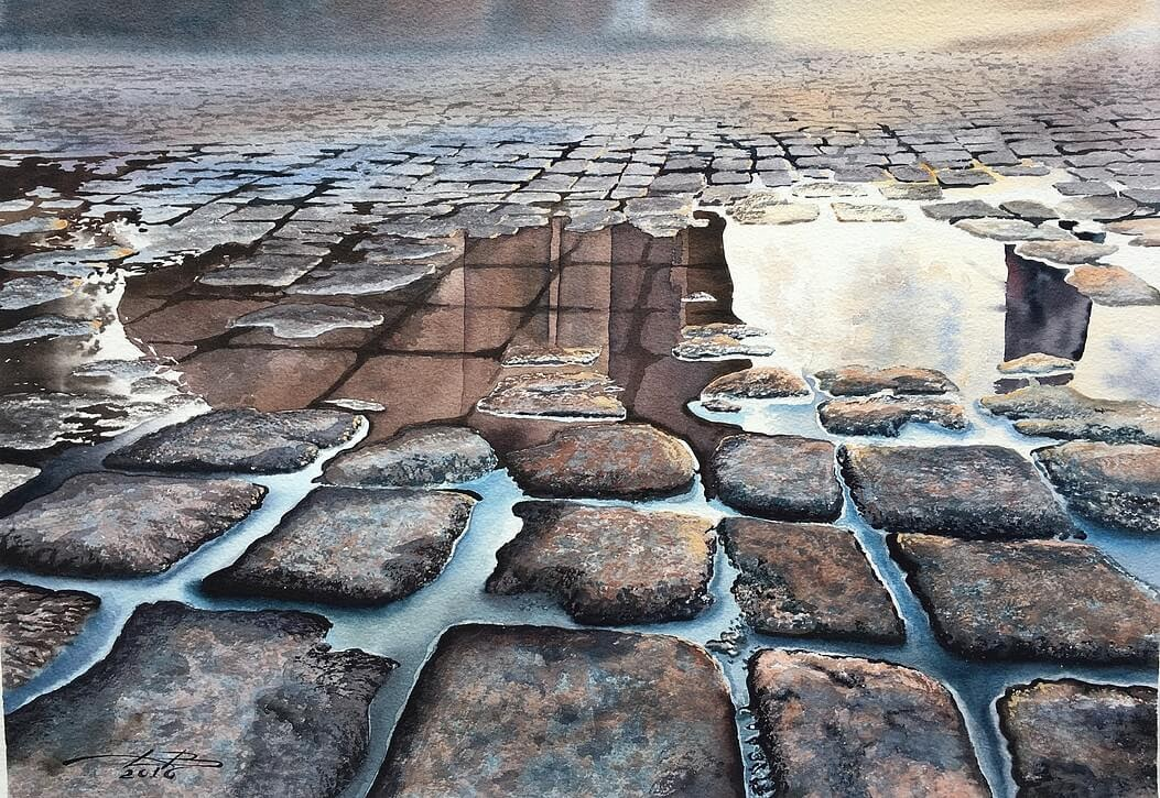 08-Cobblestone-Pavement-and-Reflection-Igor-Dubovoy-A-Love-for-Travelling-and-Realistic-Watercolour-Paintings-www-designstack-co