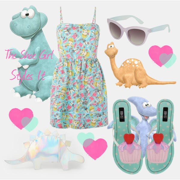 Polyvore outfit set for Iron Fist cupcake sandals worn with doll dress, dinosaur clutch bag and sunglasses