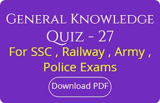 General Knowledge Quiz - 27