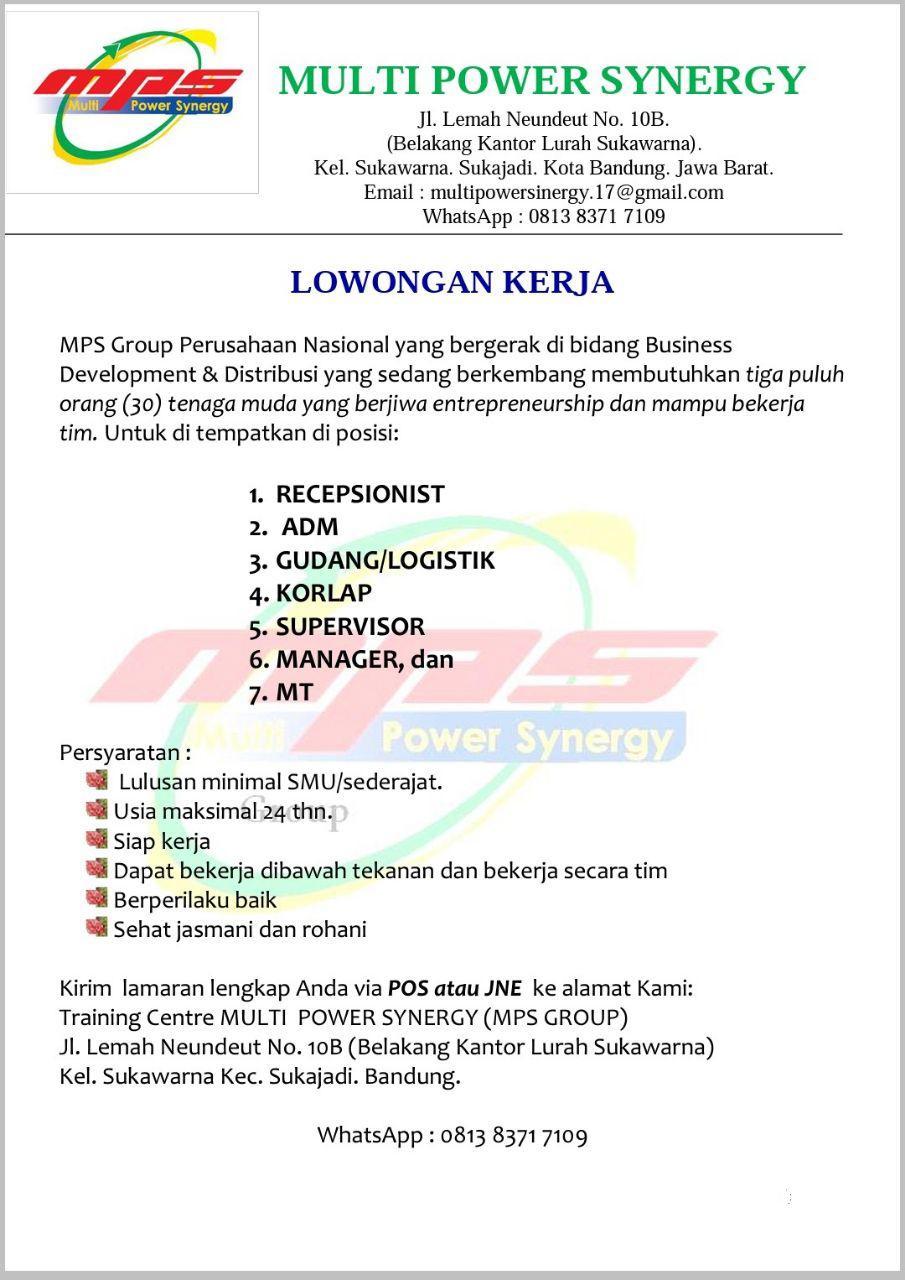Lowongan Kerja Multi Power Synergy Bandung (MPS) Desember 2017