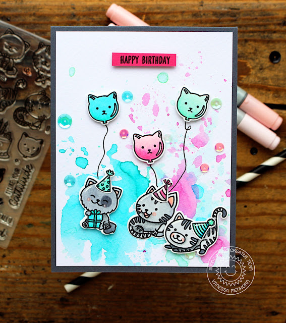 Sunny Studio Stamps: Purrfect Birthday Watercolor Happy Birthday Card by Vanessa Menhorn
