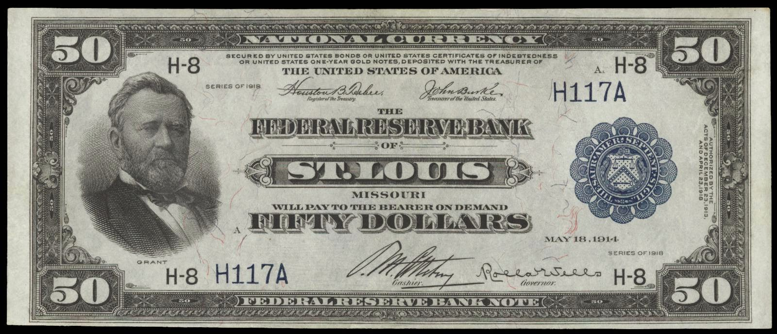 1918 50 Dollar Federal Reserve Bank Note Grant