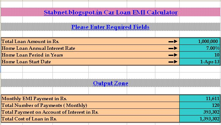 every bit of life car loan emi calculator excel. Black Bedroom Furniture Sets. Home Design Ideas