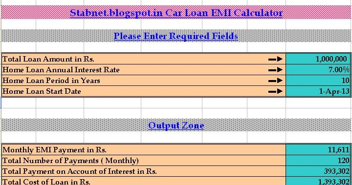 Car Loan EMI Calculator Excel