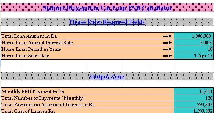Car Loan EMI Calculator Excel