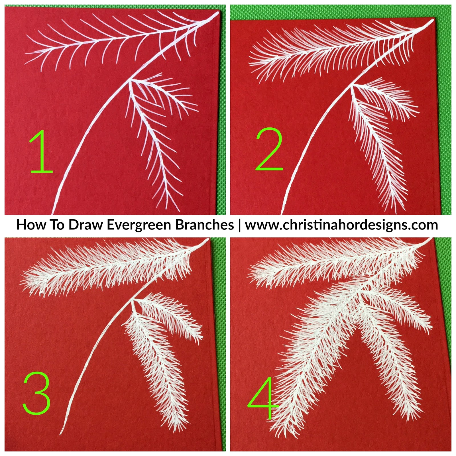 how to draw evergreen
