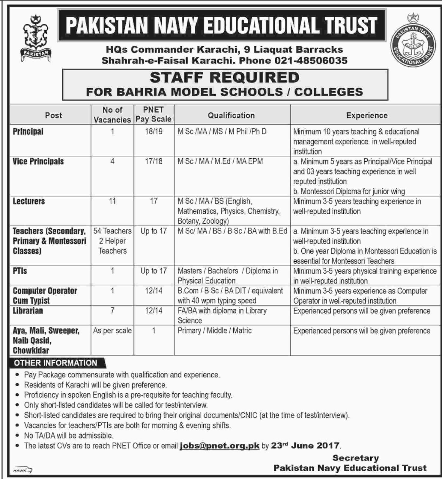 Jobs In PNET Pakistan Navy Educational Trust Karachi  for bahria Model School 10 June 2017