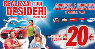Logo Realizza i Tuoi Desideri: con La Famiglia IncollaTutto spendi 5 e ricevi buono spesa da 20 euro