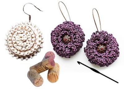2 pares de Pendientes tejidos a crochet con corchos