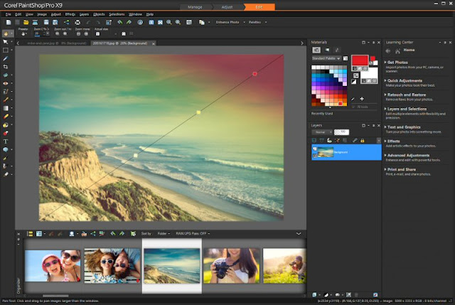 Schermata del Corel PaintShop Pro X9