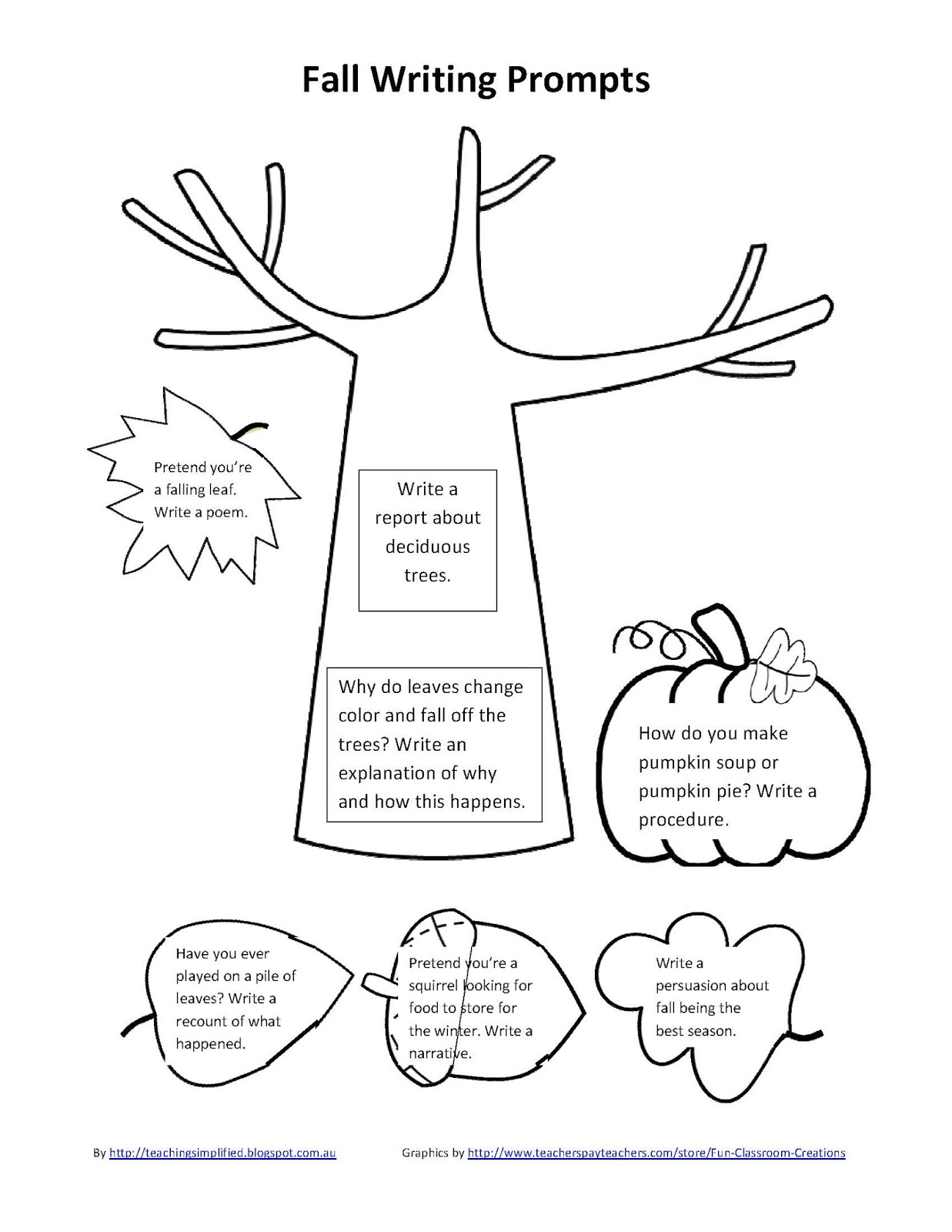 Ilma Education Spring And Fall Writing Prompts Download