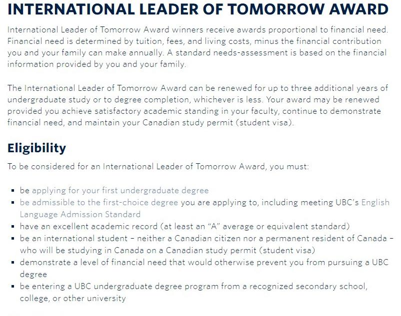 UBC International Leader of Tomorrow Award