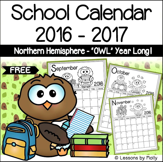 This free 2016/2017 children's calendar includes a printable calendar page for every month of the year.  It is designed for young children to use as they learn basic calendar concepts such as the days of the week and the months of the year.  Each date within a month has its own space with a numeral clearly printed inside the space.  Cute owls are involved in fun seasonal or holiday activities for each month of the year making it an engaging collection for children to practice calendar skills.