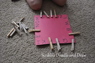 hands on literacy activity match uppercase letters by using clothespins