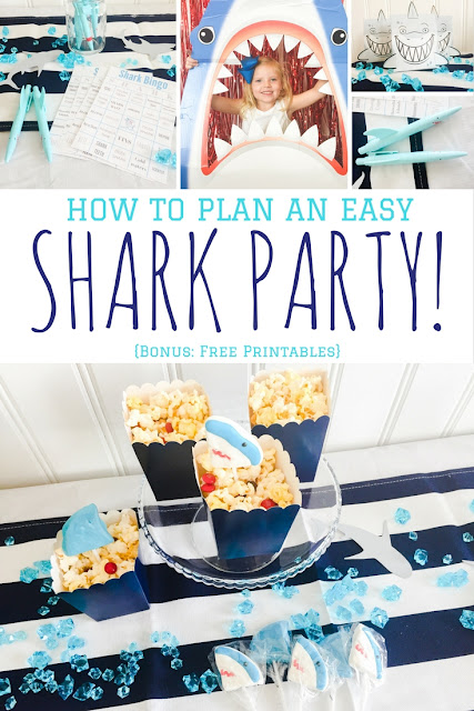 How to plan an easy shark party! Great shark themed party with free activity printables.
