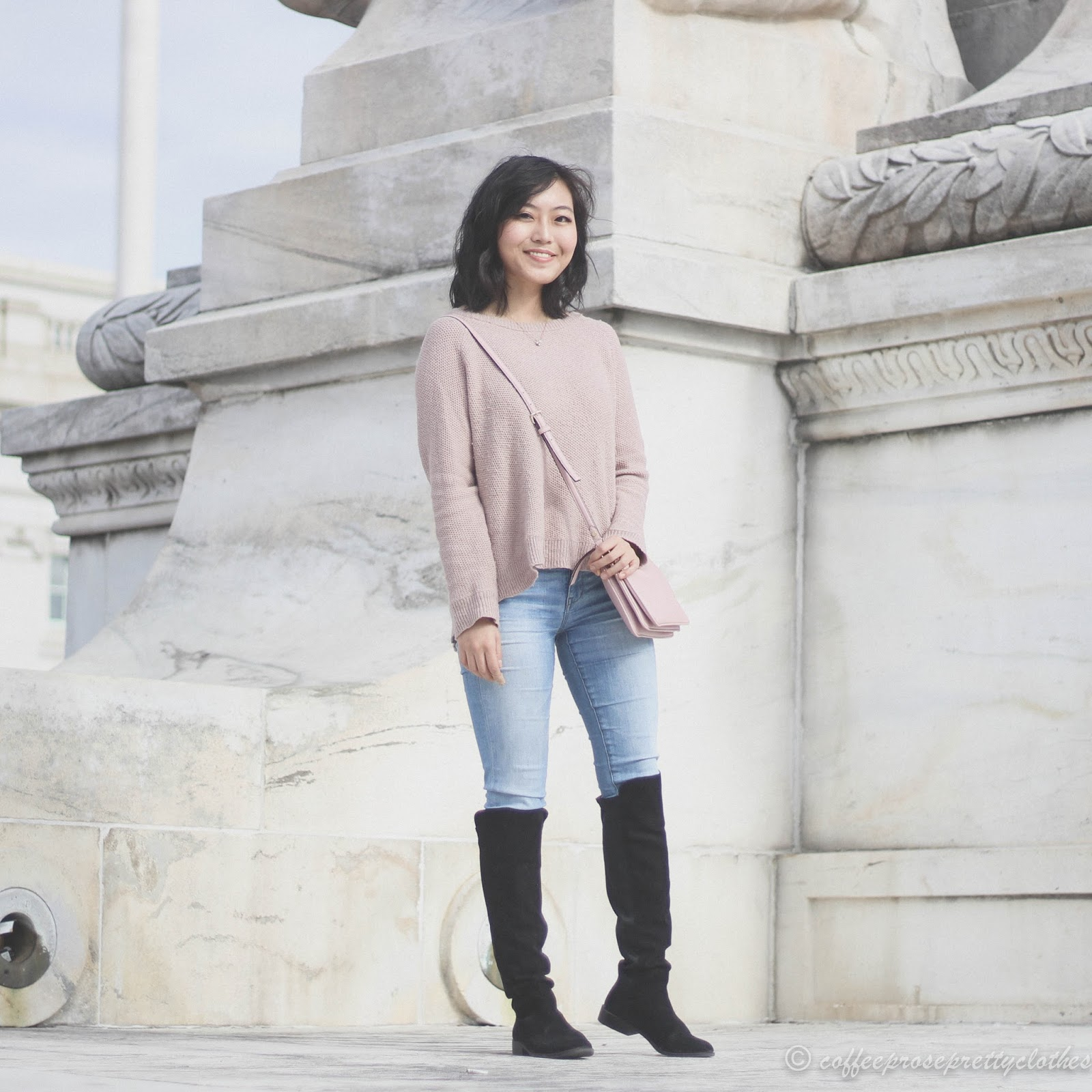 Madewell Cross-Back Sweater, over the knee boots, Kate Spade Madelyne