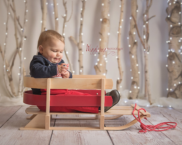 Christmas photo of a little boy holding a candy cane with a sled and white twinkle lights