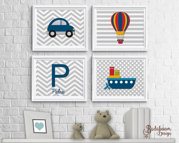 Meios de transporte, arte, digital, kit, poster, posters, posteres, decoração, quarto, infantil, festa, maternidade bebê, carro, fusca, barco, balão, personalizada, personalizados