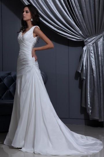 Robe de mariée sexy en taffetas décolleté en V
