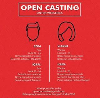 info casting audisi untuk mencari pemain film web series
