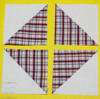 Layout to make a square in a square from HSTs - plaid