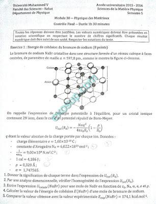 contrôles corrigés physique des matériaux I s5