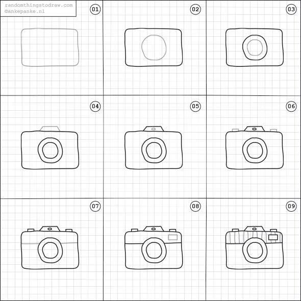 Cara Mudah Menggambar Kamera  Untuk Anak-Anak