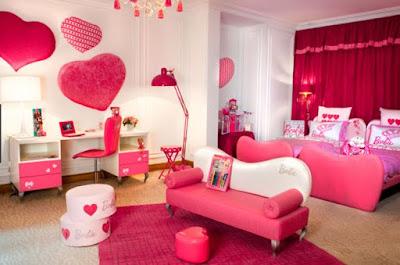 Gambar Kamar Tidur Anak Warna Pink Love Lucu Desain Terbaru