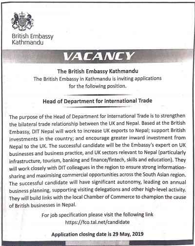 Vacancy at The British Embassy in Kathmandu.