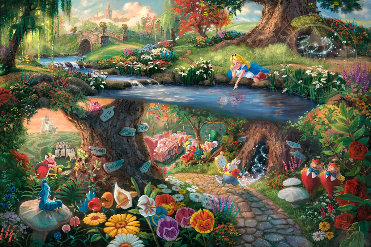 05-Alice in Wonderland-Thomas-Kinkade-Walt-Disney-Stories-Seen-Through-Paintings-www-designstack-co