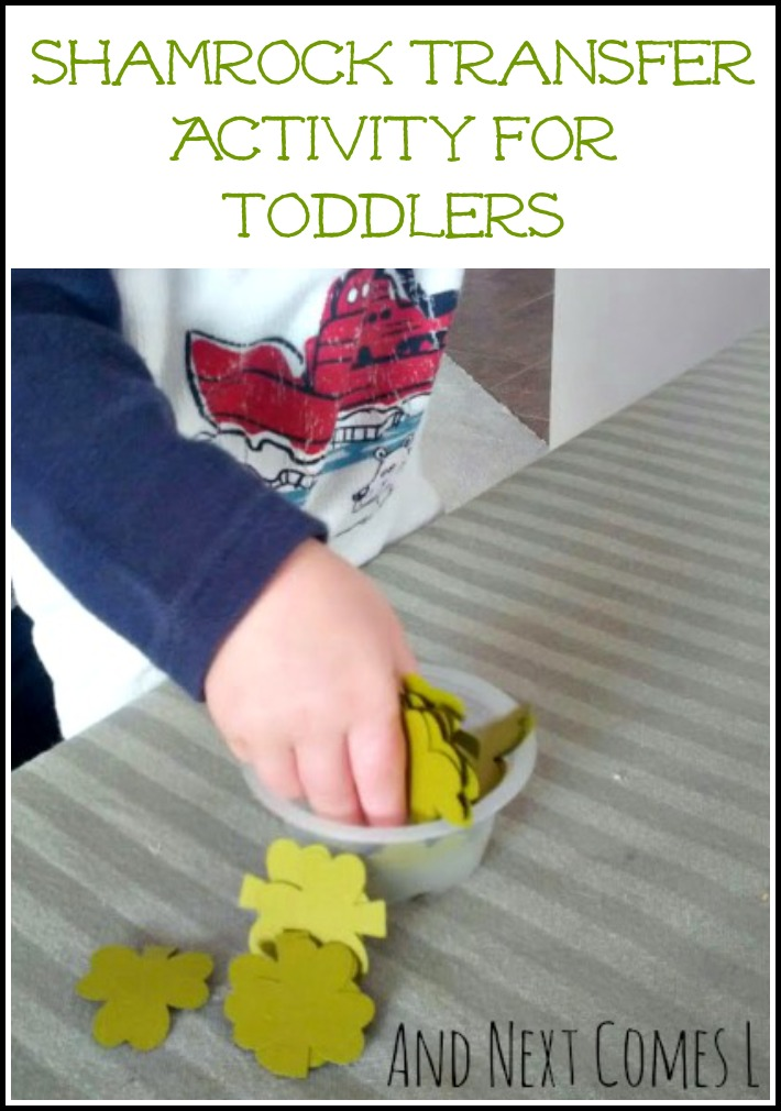 Toddler-friendly shamrock transfer activity for St. Patrick's Day from And Next Comes L