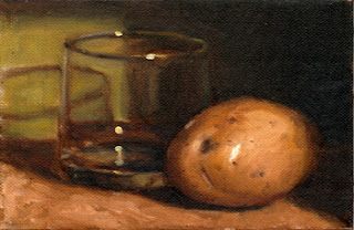 Oil painting of a white potato beside an Old Fashioned glass.