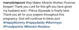 Marcy Dolapo Oni and husband welcomes a baby boy